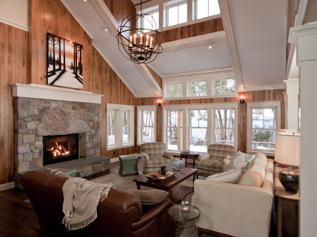 Inspiration For A Large Timeless Open Concept Dark Wood Floor Living Room Remodel In Burlington With