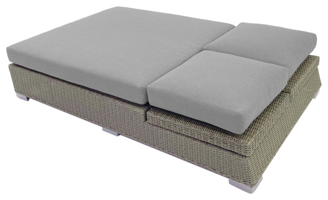 palisades outdoor double chaise with cushions gray canvas navy