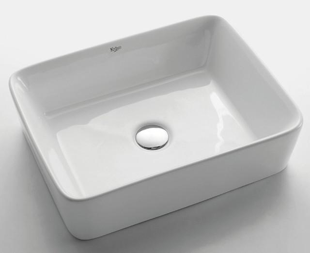 Kraus KCV 121 White Rectangular Ceramic Sink Modern