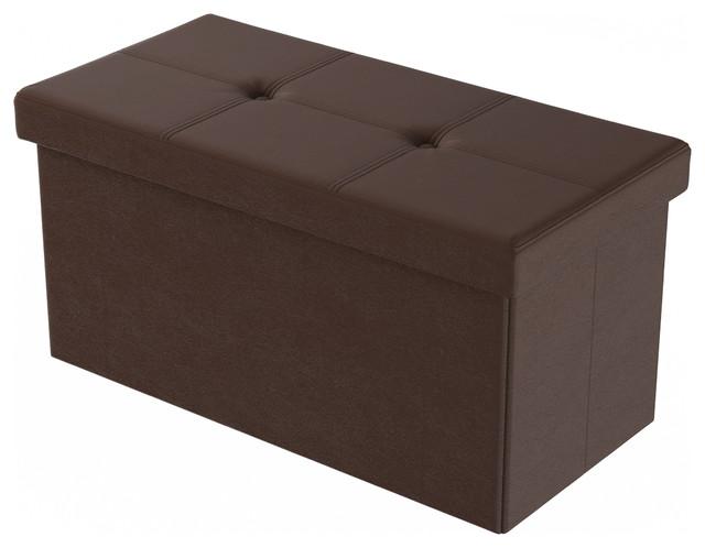 lavish home large faux leather ottoman storage bench brown