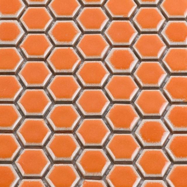 eden orange nectar hexagon polished rimmed ceramic tile sample