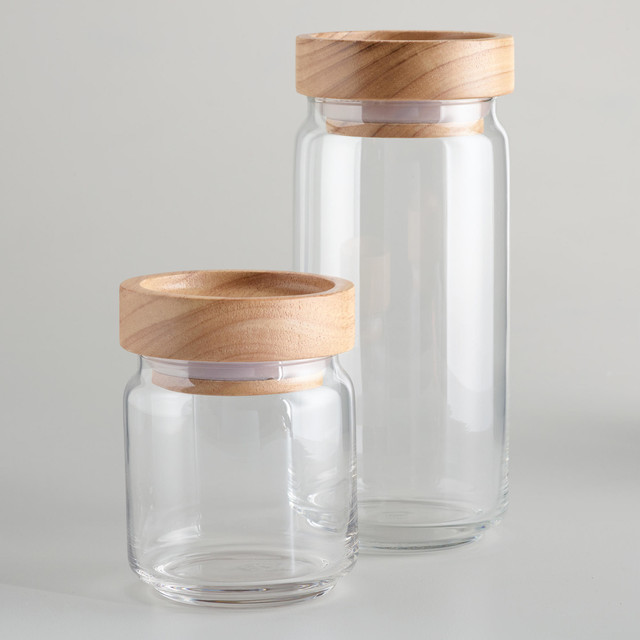 Wood Lidded Glass Jars Modern Kitchen Canisters Cost