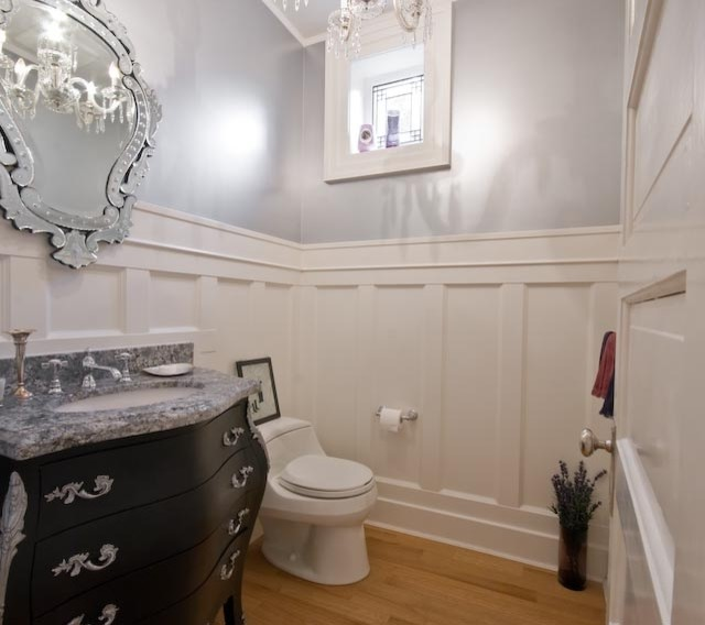 Bright And White Traditional Powder Room Vancouver
