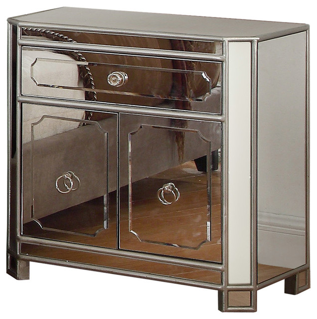mya silver mirrored nightstand