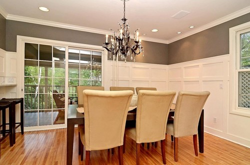 Formal Dining Room Grey/Gray and White Wainscot