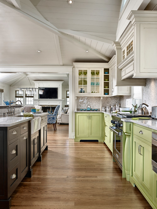 neutrals remain the go to hues to use for kitchen cabinets so a stroke of green or blue is a daring design choice