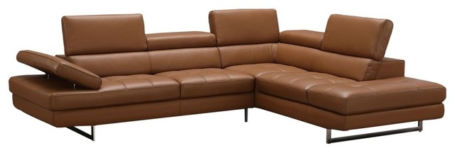 a761 italian leather sectional sofa caramel right hand facing chaise