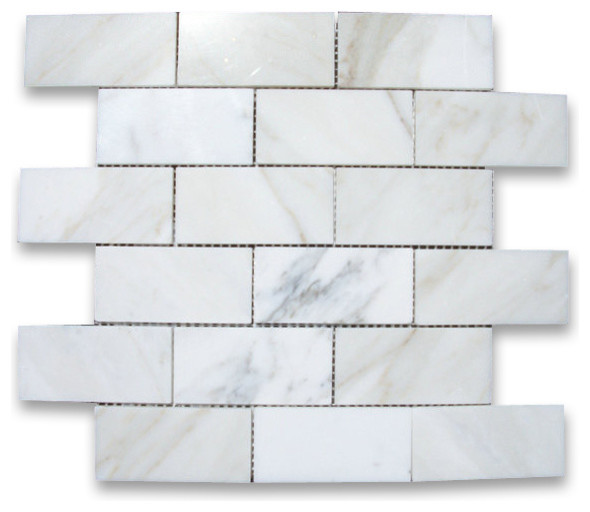 12 x12 calacatta gold grand brick subway mosaic tile polished