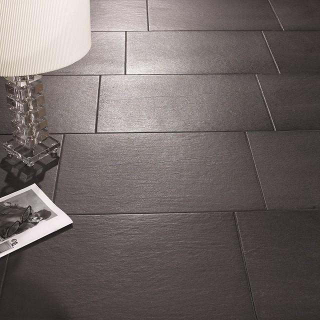 Slate Effect Floor Tiles - Black - Direct Tile Warehouse ... on Farmhouse Tile Bathroom Floor  id=61357