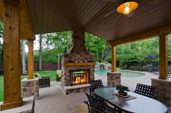 covered outdoor patio living space Pergolas and Pavilons - Traditional - Patio - cleveland