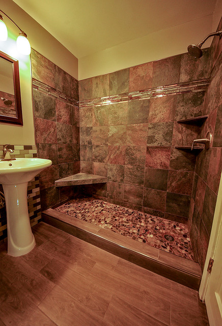 river rock shower floor bathroom remodel