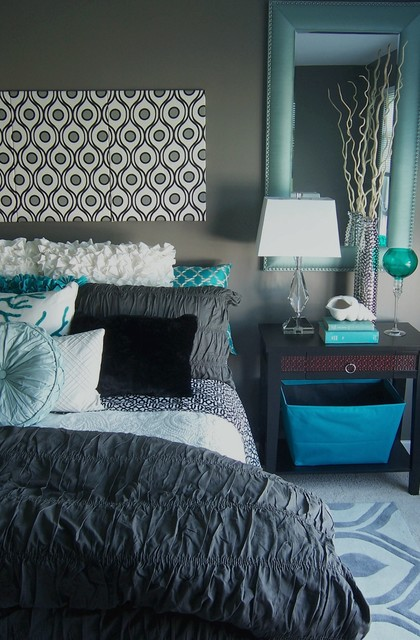 gray and turquoise bedroom - contemporary - bedroom - grand rapids