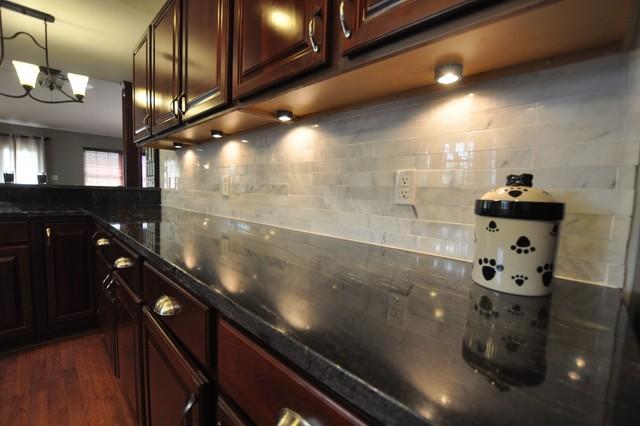 Granite Countertops and Tile Backsplash Ideas - Eclectic ... on Backsplash For Dark Countertops  id=55979