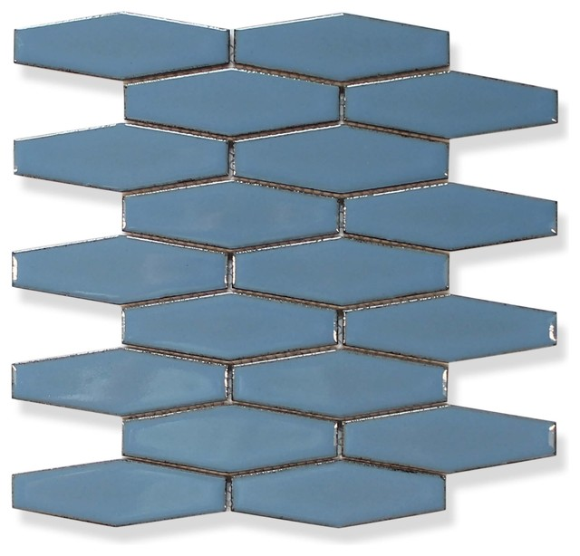 atlanta elongated 3d hexagon mosaic tiles blue sample