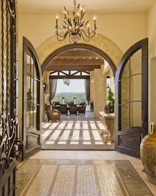 Mediterranean Entry by Austin Architects & Building Designers Cornerstone  Architects