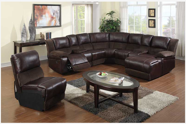 F Brown Microfiber Leather Reclining Sectional Sofa Chaise : sectional sofas with chaise and recliner - Sectionals, Sofas & Couches