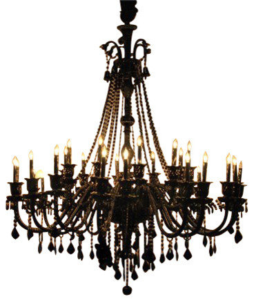 Jet Black Crystal Chandelier With 30 Lights Traditional Chandeliers
