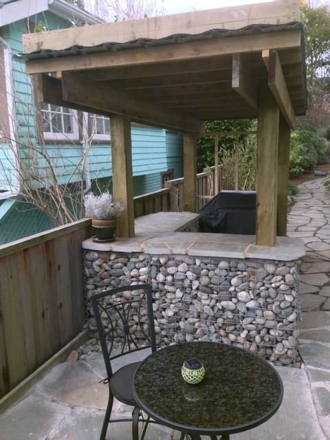 Rock Gabion Outdoor Bar with Green Roof - Rustic ... on Backyard Bar With Roof id=57551
