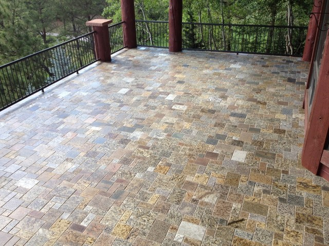 Mini French Pattern Pavers Traditional Patio Detroit