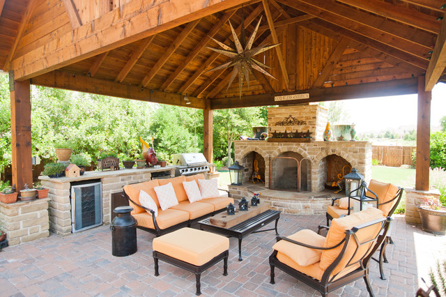 Outdoor entertainment area with Covering, fireplace ... on Garden Entertainment Area Ideas id=63014
