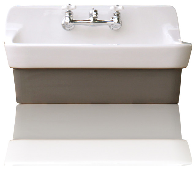 vintage style high back farm sink original finish apron utility sink brown