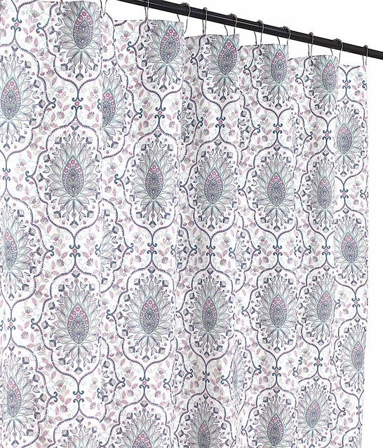 floral damask fabric shower curtain printed medallion rose