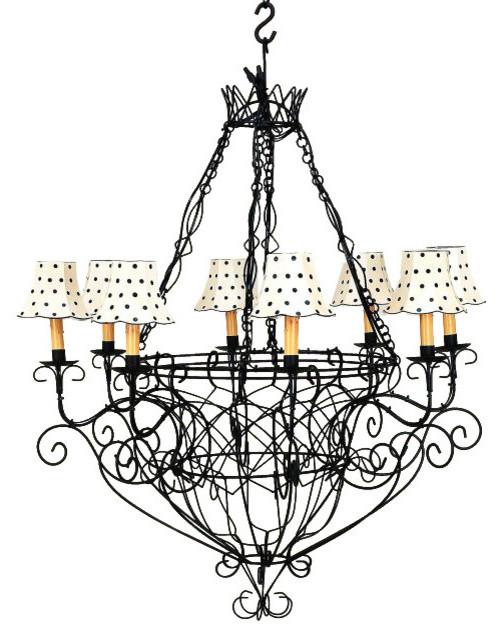 Black Iron French Basket Chandelier Country Cottage Wire 8 Light Mediterranean Chandeliers