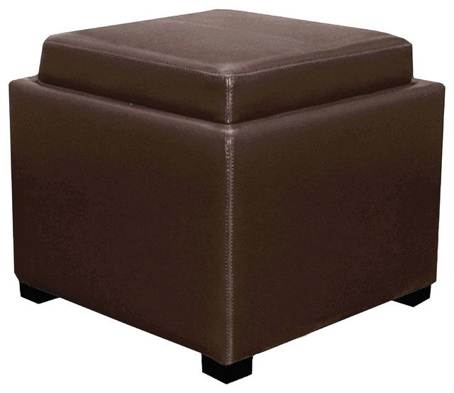 cameron square leather storage ottoman w tray brown