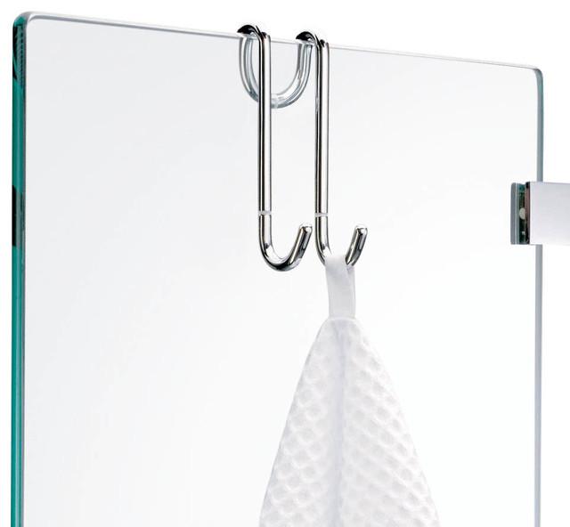 hanging towel hook, chrome - contemporary - robe & towel hooks