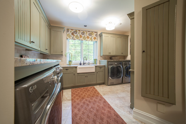 French Country European Style Home Traditional Laundry