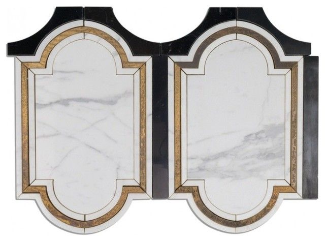inara cavalier brass and marble tile sample