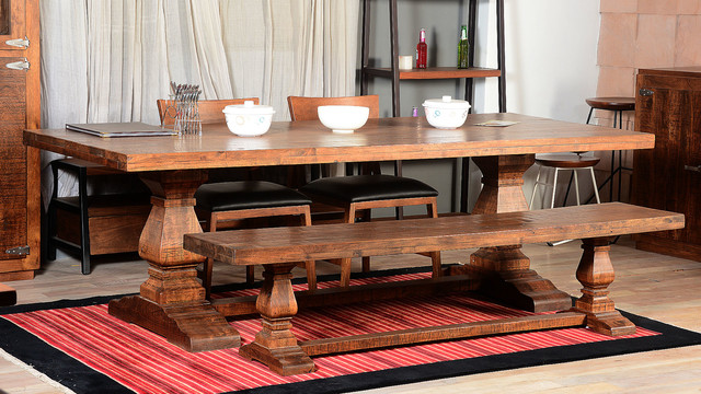 Farmhouse Trestle Traditional Rustic Dining Table & Bench