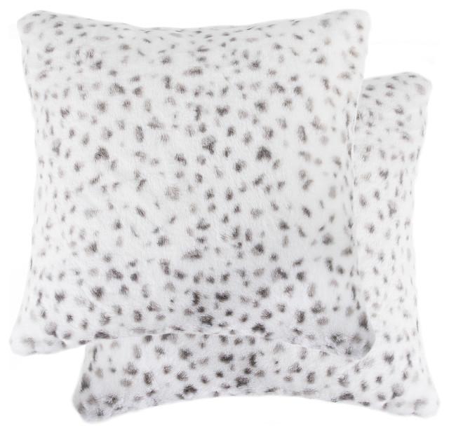 2 pack belton faux fur pillow 18 x18 snow leopard