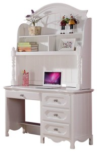 Homelegance Hayley 4 Drawer Kids  Desk with Hutch in White   Desks     Homelegance Hayley 4 Drawer Kids  Desk with Hutch in White
