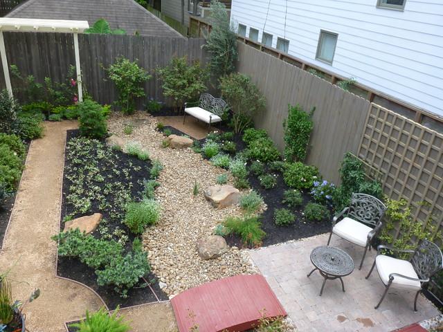Contemporary grassless landscape in West University ... on Grassless Garden Ideas  id=98267