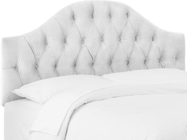 Twin Diamond Tufted Headboard, Velvet White