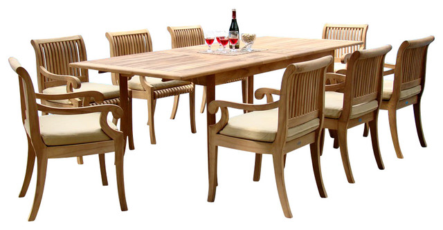 "9-Piece Teak Dining Set, 94"" Extension Rectangle Table, 8"