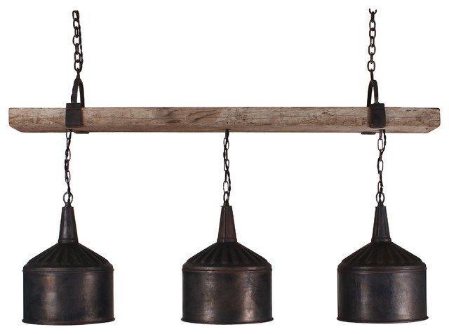 3 Funnel Chandelier With Barnwood Beam And Iron Brackets Chandeliers