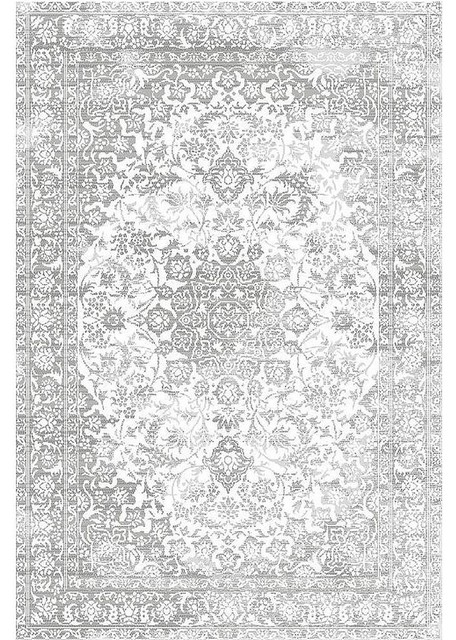 Distressed Faded Medallion Gray Area Rug Contemporary