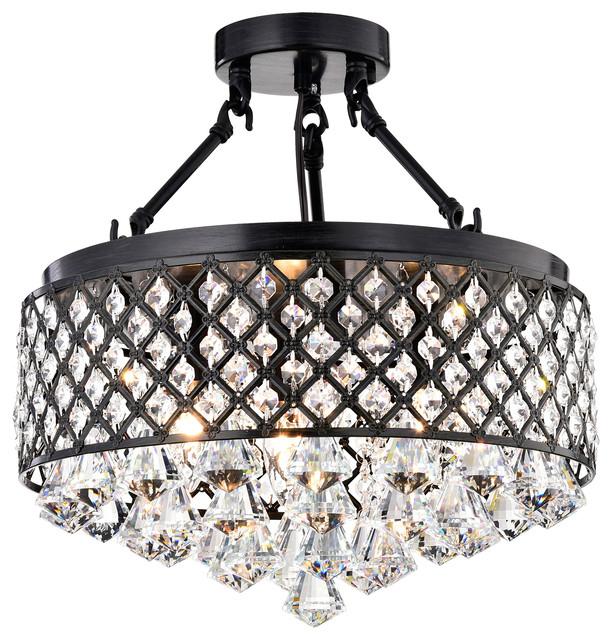 Semi Flush Crystal Chandelier Contemporary Mount Ceiling Lighting