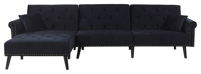 velvet l shape sectional sleeper sofa with reclining backrest black
