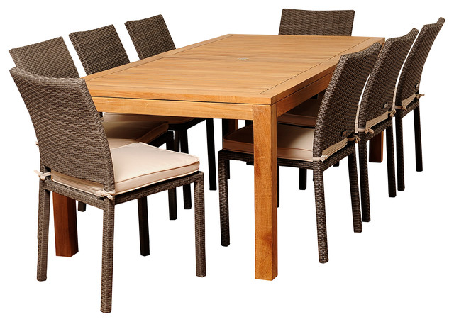 Damian 9-Piece Teak And Wicker Rectangular Patio Dining