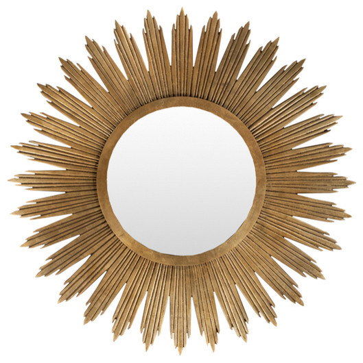Gold Round Burst Mirror contemporary-wall-mirrors