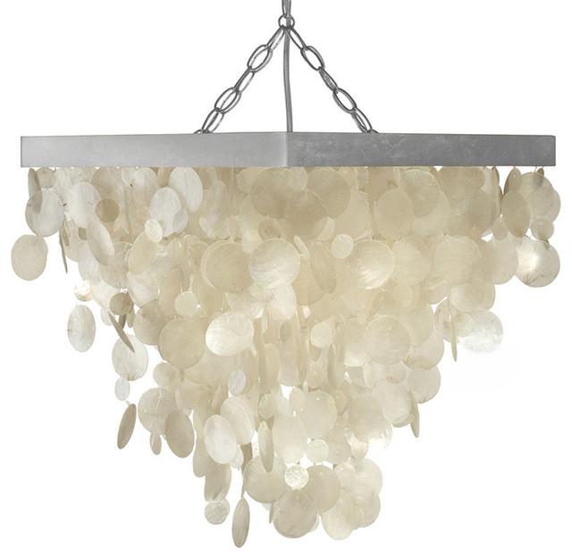 Capiz Seashell Rain Drop Pendant Lamp Beach Style Lighting