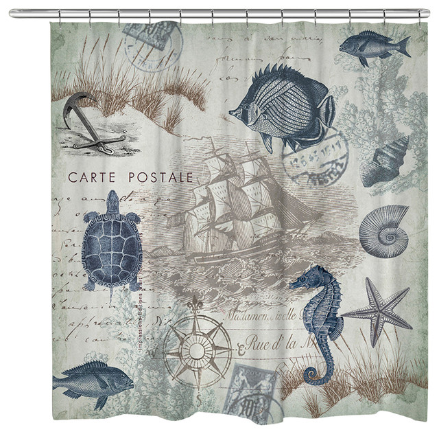seaside postcard shower curtain