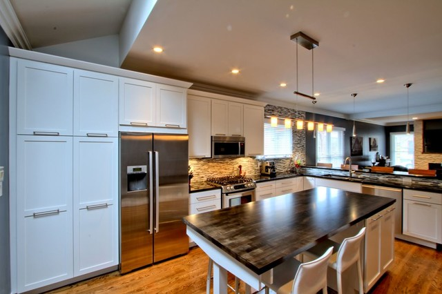 Butcher Block Island Counter Contemporary Kitchen