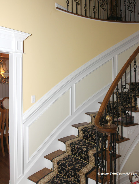 Wainscot And Picture Frames Traditional Staircase By