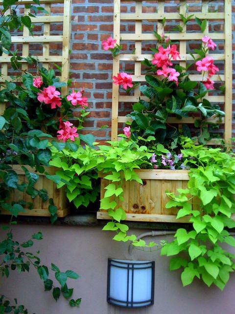 NYC Terrace Design Roof Garden Planter Boxes Trellis