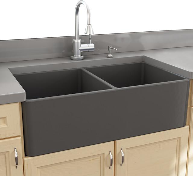 nantucket sinks 33 double bowl gray fireclay farmhouse on kitchens with farmhouse sinks id=96459