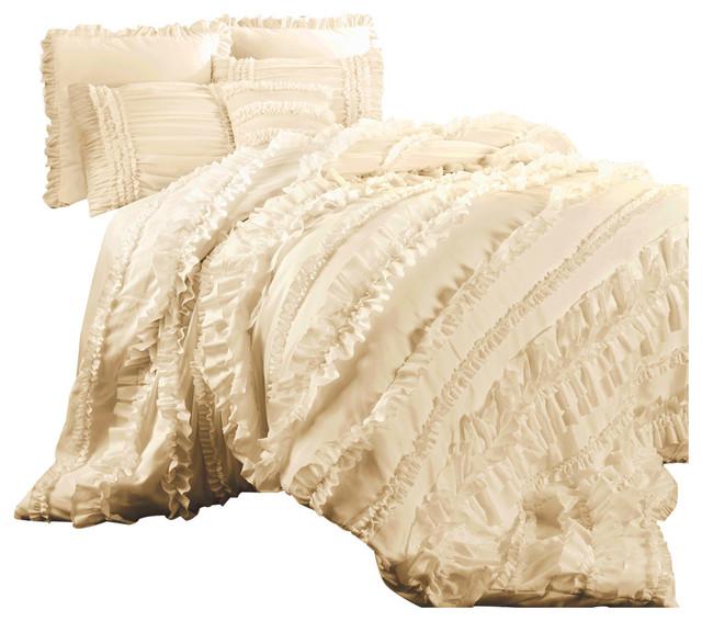 Lush Decor Serena 3 Piece Comforter Set Queen Ivory